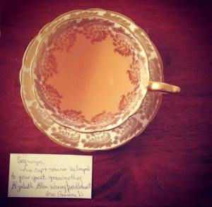 This cup and saucer belonged to my great-grandmother Elizabeth Ellen Brocklehurst.