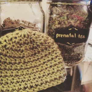Pregnancy Tea & Crocheted Baby Hat